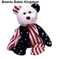 TY BEANIE BABY BABIE SPANGLE (PINK HEAD) AMERICAN STARS AND STRIPES TEDDY BEAR