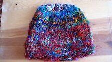 Nepal 100% Silk rolled skull cap - brilliant multi colors