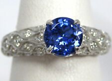 Tanzanite Ring 14K White Gold Pave Filigree Antique Heirloom AAA 1.57ct $5,274