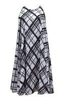 Emily for Simply Be Plus Size Black White Check Print Midi Swing Dress 16 - 26