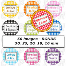 50 Images digitales pour bijoux cabochon vichy confiture multicolore - RONDS