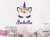 Wall Decal Girls Personalized Name Unicorn Colorful Head Vinyl Sticker NS2066