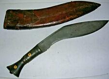 """Unusual Vintage Kukri Knife & Original Sheath! 5/16"""" Thick Carbon Steel Blade!"""