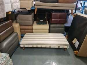 Ex-display large cream striped fabric footstool