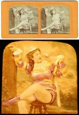 vue stéréo FEMME BUVANT vers 1860-70  / tissue polyorama