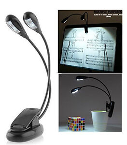 360-degree bendable 2 Dual Arms Clip on LED Lamp for Book Reading - (4 LED's)