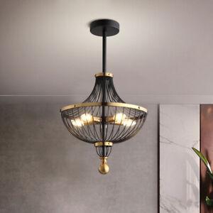 Nordic Style Black Gold Metal Round Cage LED Kitchen Ceiling Pendant Lights Loft