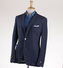 NWT $1995 BELVEST Navy Blue Knit Cotton Blazer Slim 40 R (Eu 50) Sport Coat