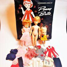 Vintage Penny Brite & Heidi Pocketbook Magic 3 Doll Lot Case & Original Clothes