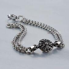 Stainless Steel Bracelet silver double chain cross flower Sydney stock