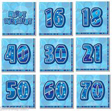 13th-100th Blue Glitz Serviette Fournitures de fête d'Anniversaire Décorations