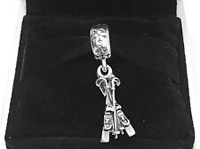 Authentic Pandora Snow Skis Dangle Charm W/ Pandora TAG & HINGED BOX #791367