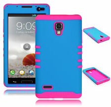 For LG Optimus L9 P769 Hybrid Blue Hard Shell + Pink Silicone Cover