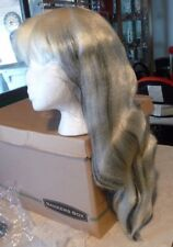 NEW LONG WHITE WITH BLACK HIGHLIGHTS WIG HALLOWEEN OR COSPLAY