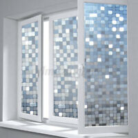 Plaid 3D Window Film Sticker Static Privacy Frosted Stained Glass Home Decor