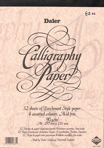 """DALER-ROWNEY  -  A pad of """" CALLIGRAPHY  PAPER  in  FOUR  COLOURS  """" ."""