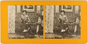 La Puce Scène Artistique Femme Mode c1900 Photo Stereo Vintage Argentique