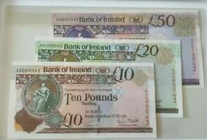 EARLY BANK OF IRELAND MATCHETT 2013 £50/£20/£10 SAME NO SET A000043 UNCIRCULTED