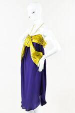 Jean Paul Gaultier Femme Purple White & Yellow Silk Oversize Bow Dress SZ 6