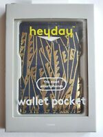 heyday Cell Phone Wallet Pocket (Art Deco Navy/Gold, Hold 3 cards, Fits Most)