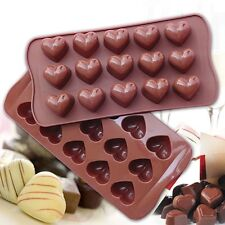 2 Pack Silicone Chocolate Jelly Candy Mold, Cake Baking Mold, Hearts, Brown