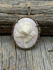 Flowers Cameo Brooch / Pin / Pendant New listing Vintage 800 Silver Carved Shell Rose