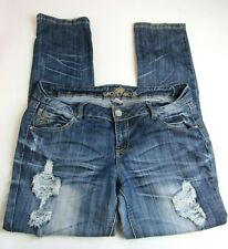 Women's/Juniors Almost Famous Jeans Destroyed Tapered Leg Size 15
