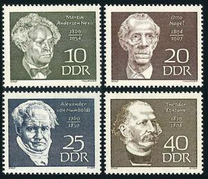 Germany DDR/GDR 1077-1080, MLH. Famous men.Nexo,Nagel,von Humboldt,Fontane,1969