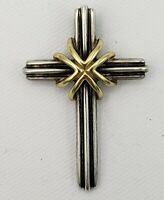 AUTHENTIC TIFFANY & CO Sterling Silver & 18kt 750 Yellow Gold Cross Pendant