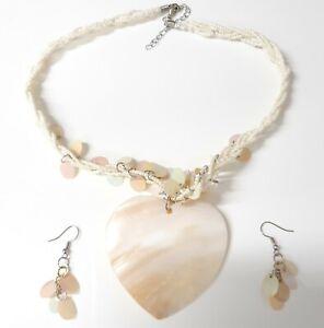 Shell Style Beaded Choker Heart Necklace and Earrings Set Holiday Beachwear