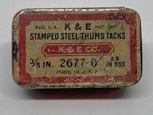 VINTAGE Keuffel & Esser K&E Stamped Steel Thumb Tacks Metal Box w/15 Tacks