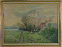Unbekannter Künstle. Landschaft mit Bäumen und Häusern. Öl auf Leinwand.