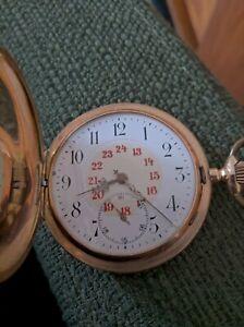Schwere Taschenuhr Gold 585, 109g aus 1909