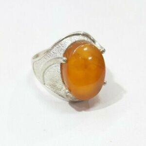 خاتم فضه  عقيق يماني شرف الشمس Yemeni agate stone aqeek Silver  Ring size11.5