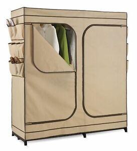 "Beige Fabric Portable Closet Wardrobe Clothes Storage Garment Rack Seasonal 60"""