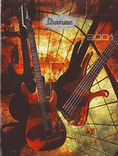 Original 47 page FULL COLOR Ibanez 2001 catalog - guitars, basses, artists,etc