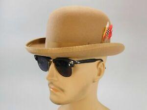 Tan Felt Derby Bowler Hat by Capas Design, Size Small, 6-3/4, Tan, 100% Wool