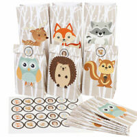 12x Animals Favor Bags Candy Treat Gift Bags Kids Woodland Birthday Party Supply