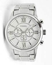 New Fossil Men's Watch Courier BQ1124 Steel Bracelet White Face Chronograph $155
