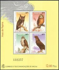 Macau 1993 Birds of Prey/Owls/Eagle/Falcon/Nature/Wildlife/Raptors 4v m/s n22935