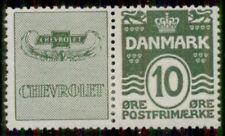 DENMARK (RE5) 10ore green CHEVROLET advertising pair, og, LH, VF