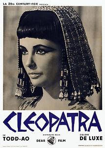 Print Poster Vintage Flim Movie  Cleopatra Liz Taylor Canvas  Framed