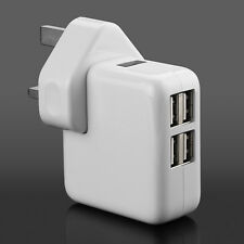 UK Mains Wall 3 Pin Plug Adaptor Charger With 4 USB Ports for PHONES Tablets CE