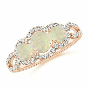 0.89Ctw Floating Three Stone Opal Ring with Diamond Halo in 14k Gold/Platinum