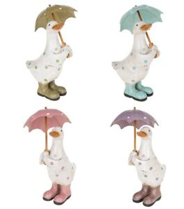 Green and  White Polka Dot Duck with Umbrella and  Wellington Boots 16cm