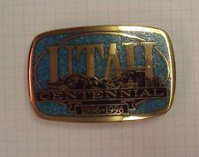 UTAH 100TH CENTENNIAL 1896-1996 BRASS METAL BELT BUCKLE TURQUOISE INLAY