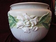 Large JARDINIERE! Vintage ROSEVILLE pottery: matte GRAY GARDENIA pattern: LOVELY