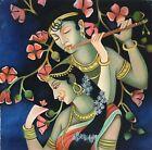 Krishna Radha Hindu Kunst Indisch Gottheit Öl Auf Leinen Handbemalt Dekor Malen