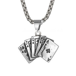 """Mens Unisex Stainless Steel Retro Poker Card Tag Pendant Chain Necklace 22"""""""
