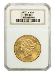 1907-D $20 NGC MS63 - Liberty Double Eagle - Gold Coin